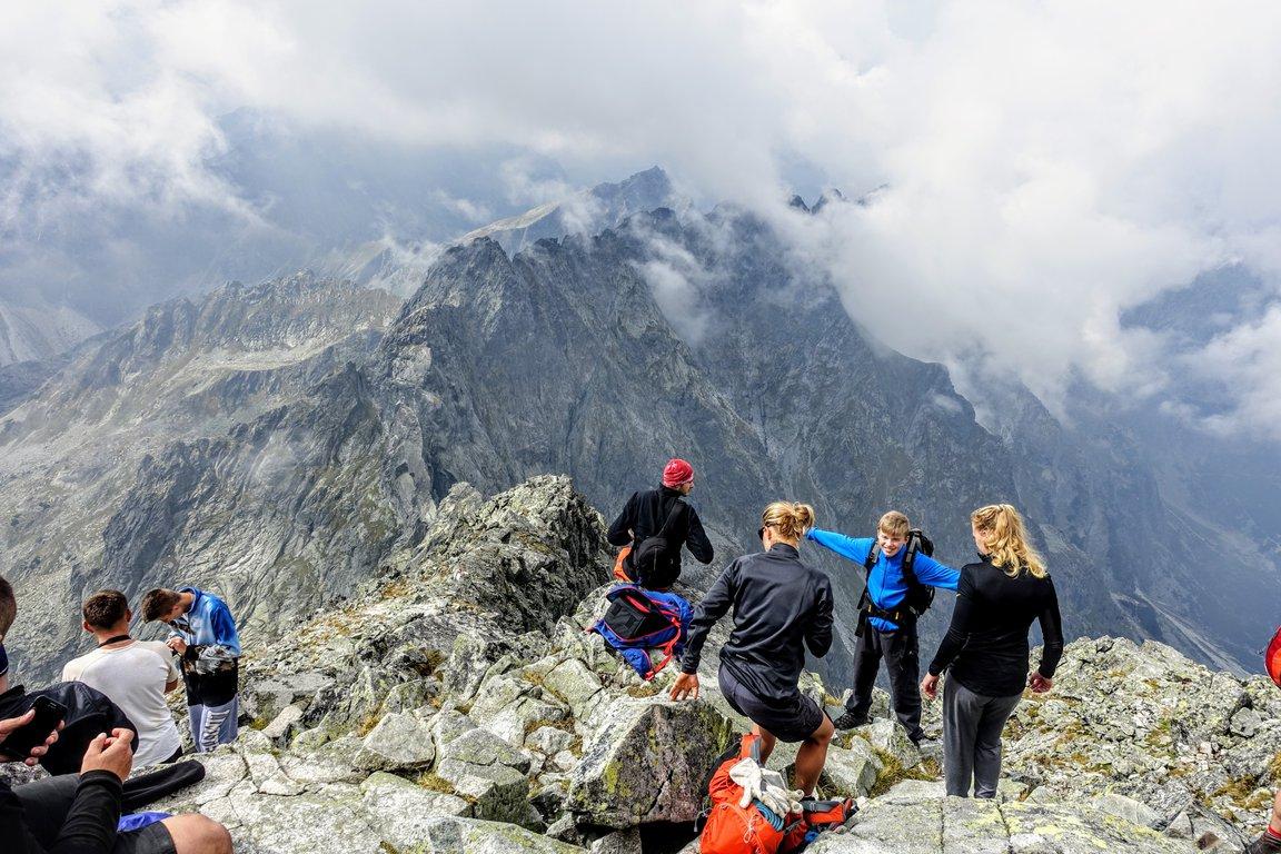 Crowded Rysy peak, Tatra mountains