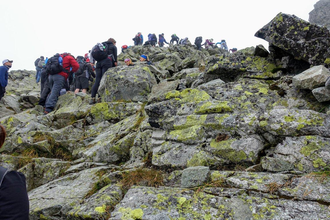 Crowds on trail to Rysy, Tatra mountains
