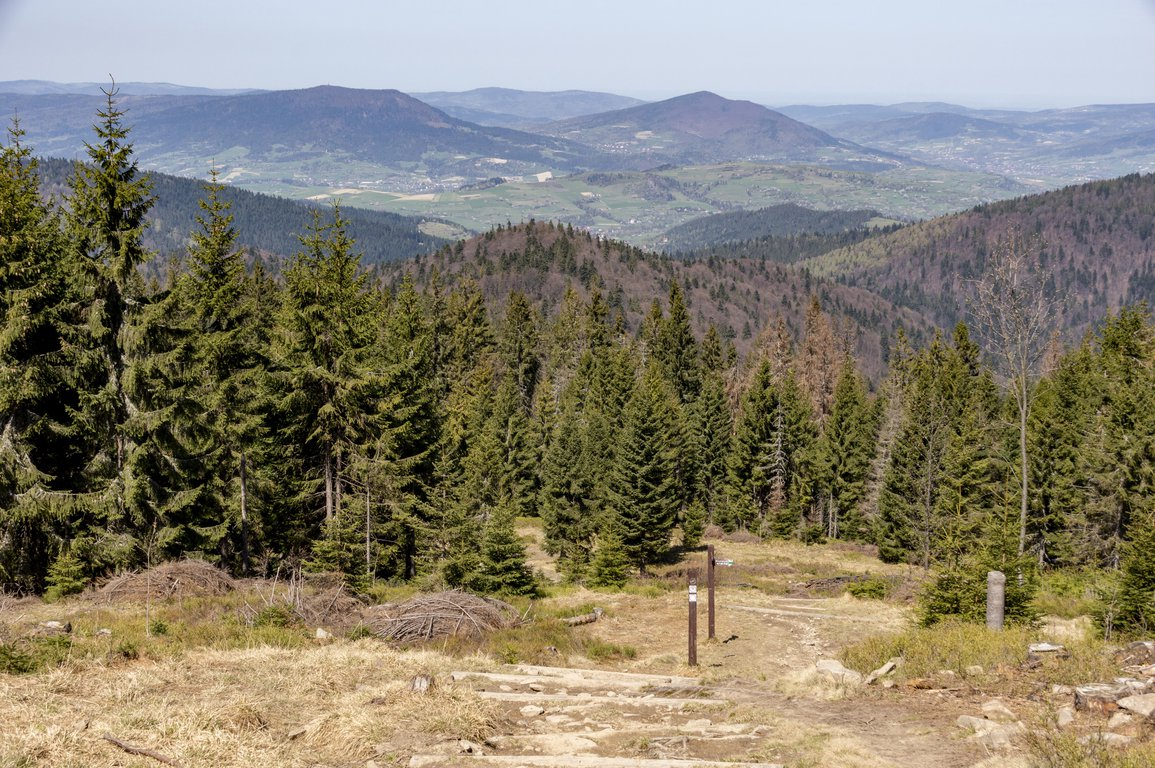 Hiking trail to Turbacz peak in Gorce mountains, Poland