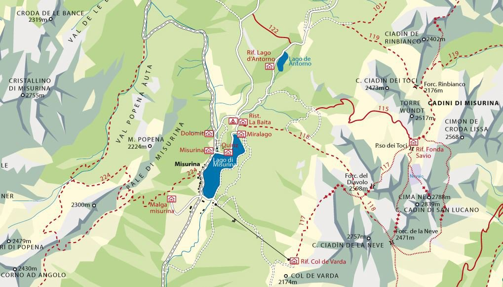 Hiking trails around Misurina