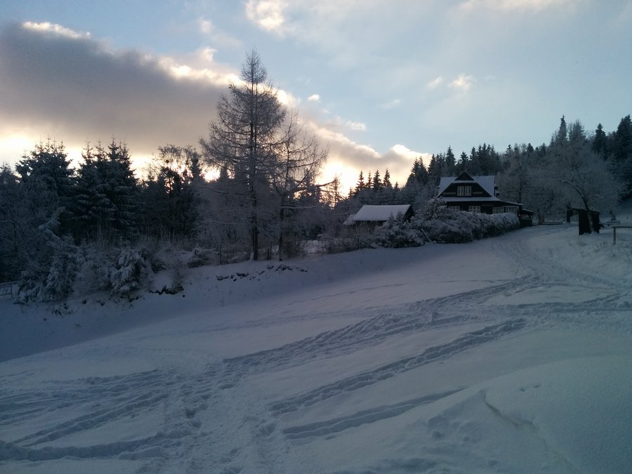 skiing in Wisla, Beskid mountains in southern Poland