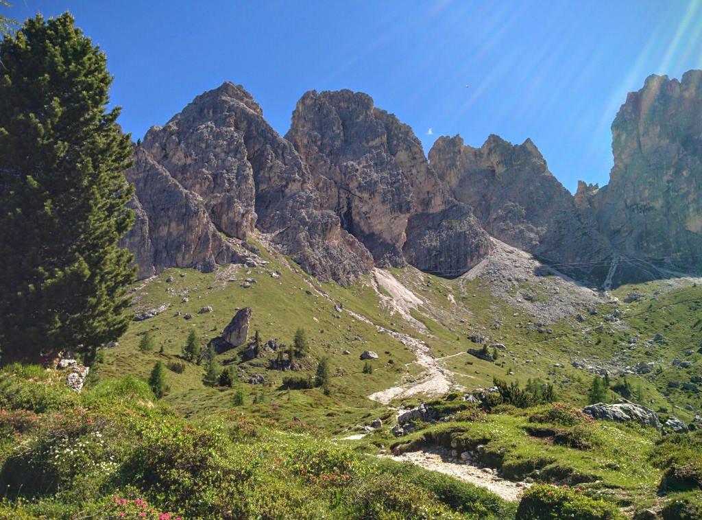 Trail 115 leading to Rifugio Fonda Savio in Dolomites.