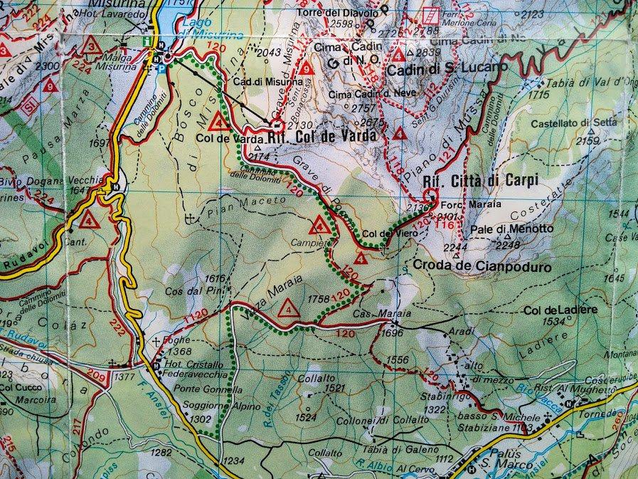 Hiking trails near Misurina - Rifugio Città di Carpi (C.A.I)
