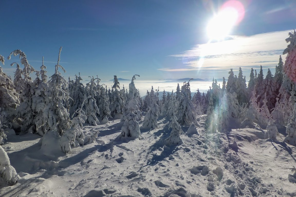 Beautiful winter scenery - Beskidy mountains in Poland