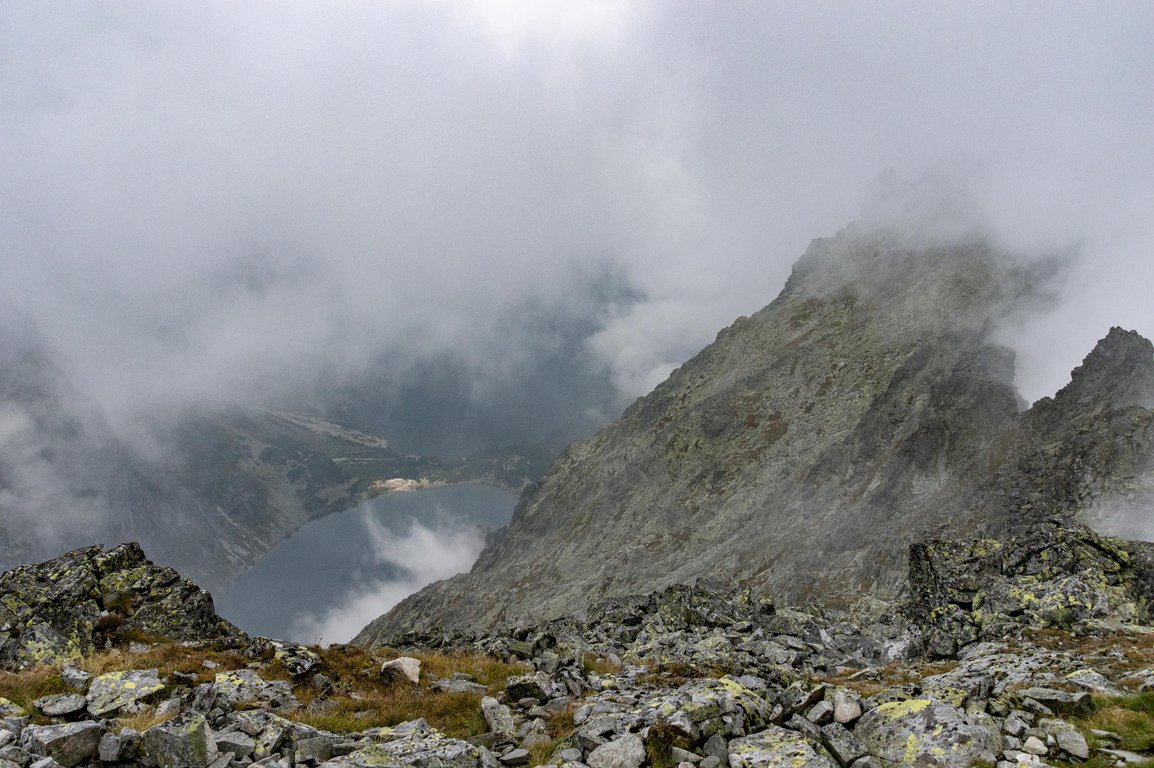 View from red trail leading to Rysy peak, Tatra mountains