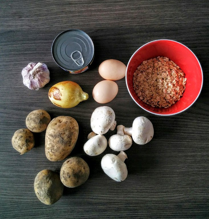 Ingredients for fish cakes