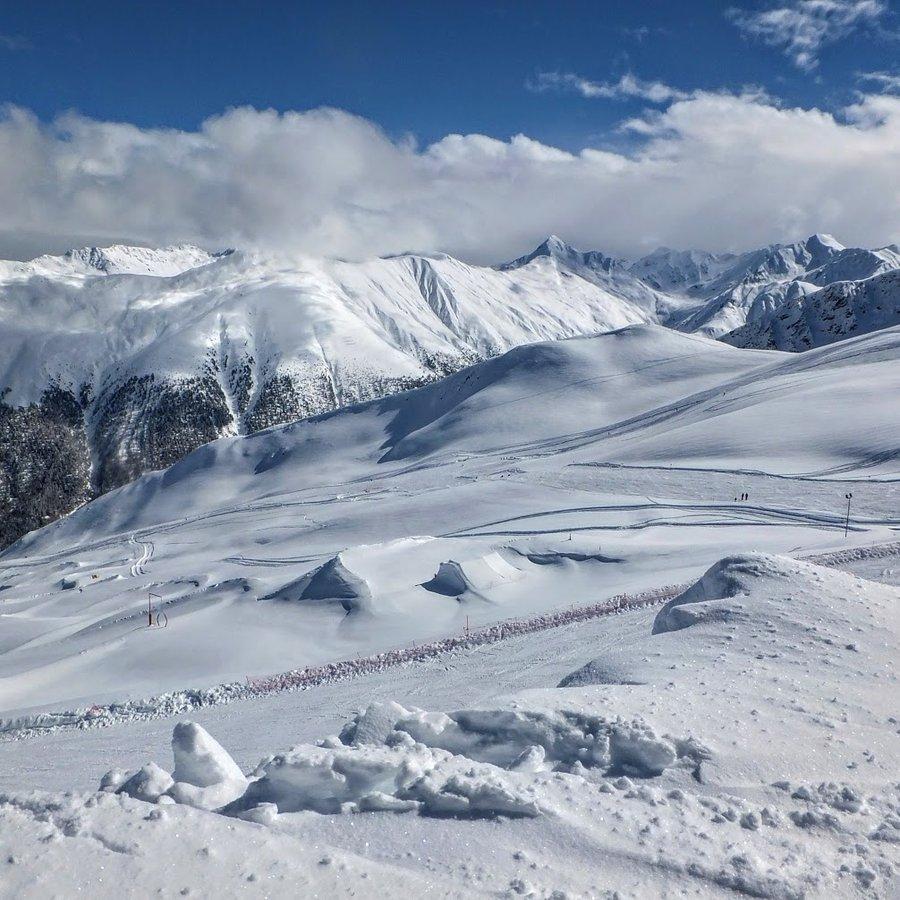 Skiing in italy Livigno Carosello montains slope